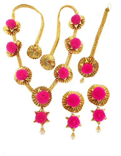 BLENT#63 Pink Gota Patti Flower Jewellery Set for Women/Kids/Girls/Bride/Bridal/Wedding/Haldi/Mehandi (Handmade Light Weight...