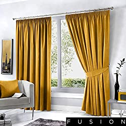 """Fusion Dijon-Pencil Pleat Blackout Thermal Insulated, Ochre, Curtains: 90"""" Width x 54"""" Drop (229 x 137cm)"""