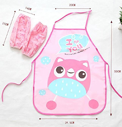 SunnyGod Hausfrau-Schürze Kinderschöne Schürze Cartoon Animal Printing Schürze Set_Pink Owl