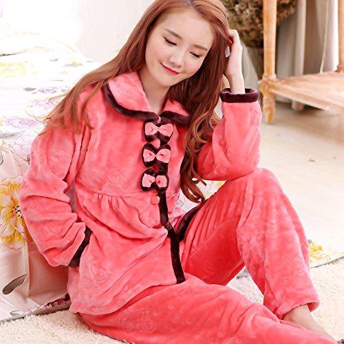 MH-RITA Coral Fleece Schlafanzug weiblichen Dicken warmen Herbst und Winter Bekleidung Heimtextilien Waschlappen Strickjacke Frau, M, 2649 Bug (Bug Kostüm Muster)