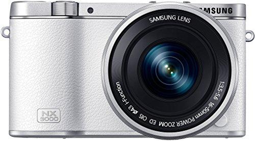 Samsung NX3000 Fotocamera CSC Digitale 21,6 Megapixel con Obiettivo Power Zoom 16-50mm OIS, Flash NG8 e Adobe Lightroom 5, Bianco