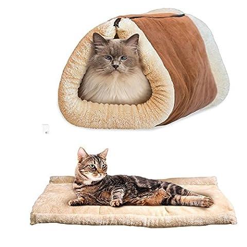 Cat Tunnel Bed Dual Purpose, Kitten Tente Chaude Et Doux Matelas Machine Wash