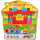 Shanaya Toys 58 Pieces Building Blocks With Stickers For Kids (Multicolor Big Size Blocks)