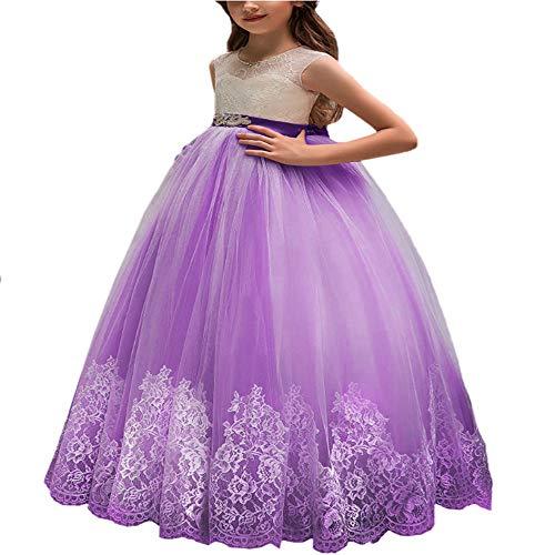 Wenzhihua Robes De Fête Enfants Toddler Kinder Spitze ärmellose hohe Taille Blumenmädchen Zeigen Geburtstag Prinzessin Tutu Princesse Costume Robe de bal de bal (Farbe : Lila, Größe : 4-5T)