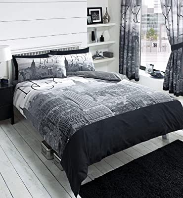 New York City Skyline - Black & Grey Printed Duvet Cover Bed Set produced by sell-ideas - quick delivery from UK.