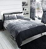 NEW YORK CITY SKYLINE - BLACK & GREY PRINTED DUVET COVER BED SET (king)