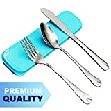 AckMond 3-Piece Portable Stainless Steel Travel, Camping Cutlery Set (Blue case)