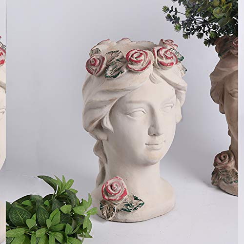 zenggp Göttin Kopf Pflanzer Blumentopf Dame Vase Griechischen Skulptur Zement Blumenvase Oder Pflanzer,B -
