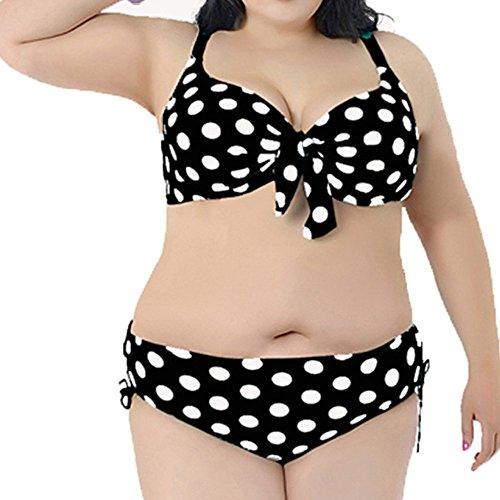 Spring Fever Damen Plus Größe Cute Polka Dots Bikini Set Bademode, Zweiteiler XXXXL schwarz / weiß (Polka Dots-stretch-bh)