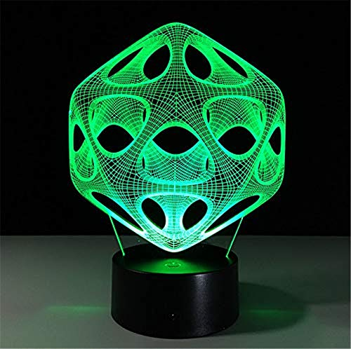 WJPDELP-YEDE Acrylglas-Berührungssensor-Schwarz-Stecker 3D-abstrakte Grafik-Loop-Löcher-Nachtlampe mit 7 Farbwechsel-Illusion (Pokemon-stecker)