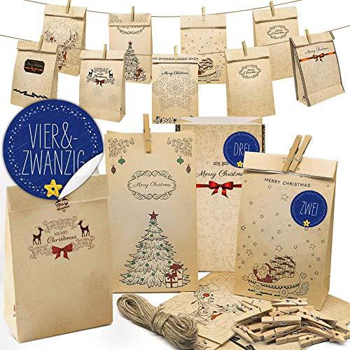 Weihnachtsgeschenktüte Papiertüte, Weihnachtskalender, Papiertüte, Aufbewahrungsbeutel aus Kraftpapier für Kuchen, Nuss, Lebensmittel, Weihnachten, Geschenktüten Set