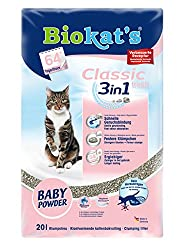 Biokat's Katzenstreu Classic Fresh 3 in 1 Babypuderduft, 1 Packung (1 x 20 L)