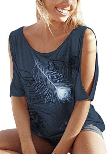 OLIPHEE Femme Sexy Shirt Plume Epaule nue Basic Top Chic Casual Chemiser Taille S-5XL Bleu foncé