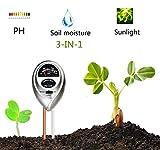 Superskey 3-in-1-Boden-Prüfvorrichtung-Meter-Test-Ausrüstung für Licht, Feuchtigkeit und pH Passend für Innenanlage-Blumen, Gemüsegarten im Freien, Rasen, Bauernhof, Gartenbau-Anlage-Testgerät