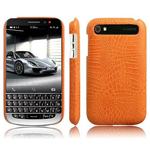 CHENJUAN Ultradünne Klassische Krokodilleder-Beschaffenheit PU-Leder Kratzfeste PC-Hartschalenabdeckung für BlackBerry-Klassiker Q20 (Farbe : Orange) (Blackberry-klassiker)