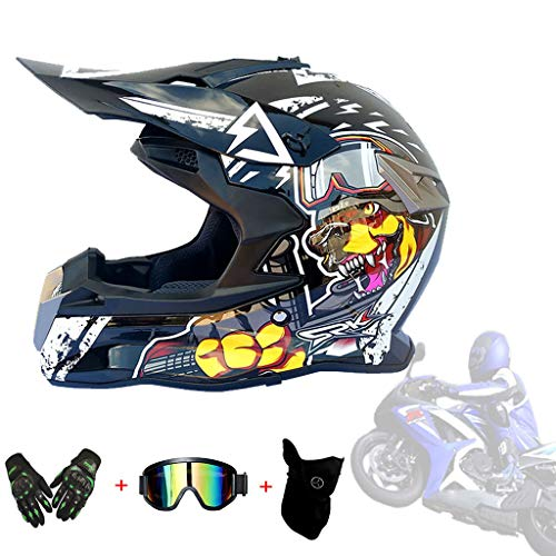 AMINSHAP Motocross Helm, Kinder Quad ATV Go-Kart-Helm Downhill DH Four Wheeler Full Face DOT- Motorradhelm Für Kinder Und Erwachsene Mit Schutzbrillen/Masken/Handschuhe,Black,L59~60cm