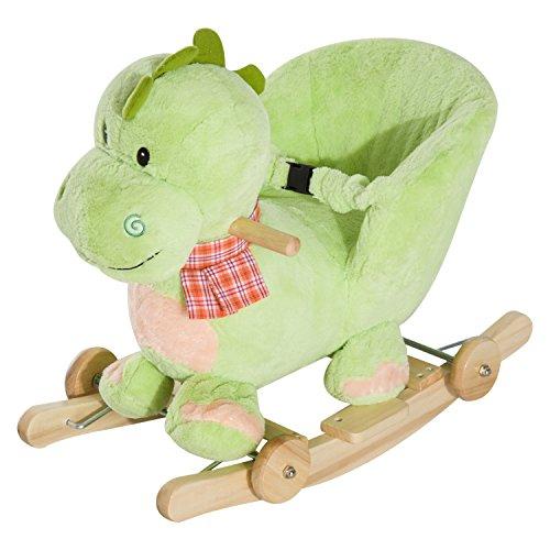 Homcom Cheval à Bascule Jouet à Bascule Dinosaure et Porteur sur roulettes 2 en 1 Fonction Musicale 32 Pistes Ceinture sécurité Vert
