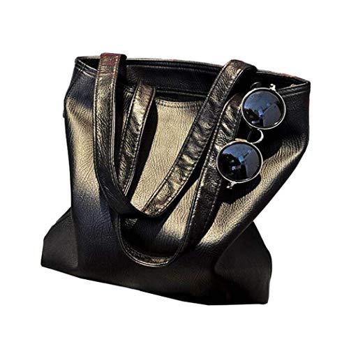 West See Frauen Schwarz PU-Leder Handtasche Umhängetasche Schultertasche Beutel Tote-Geldbeutel Messenger Hobo Bag -