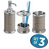 mDesign 3er-Set Badaccessoires aus Metall – inkl. Seifenspender, Zahnputzbecher und Zahnbürstenhalter – Badgarnitur für den Waschtisch – silber