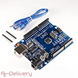 AZDelivery UNO R3 con cable USB, 100% compatible con Arduino
