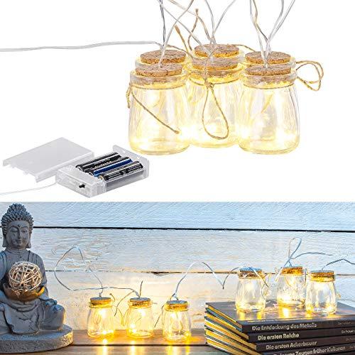 Lunartec Flaschenlicht: LED-Silberdraht mit 18 LEDs in 6 Deko-Gläsern, batteriebetrieben (LED Flaschenlicht)