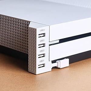 USB Hub für Xbox One S – 4-Port USB 2.0 Adapter mit LED-Anzeige for Microsoft XBOX1 Slim Konsole