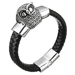 Idea Regalo - DUBU Personalizzato nero polsino bracciale in vera pelle da uomo con gufo 21,6cm chiusura in acciaio inossidabile 316L