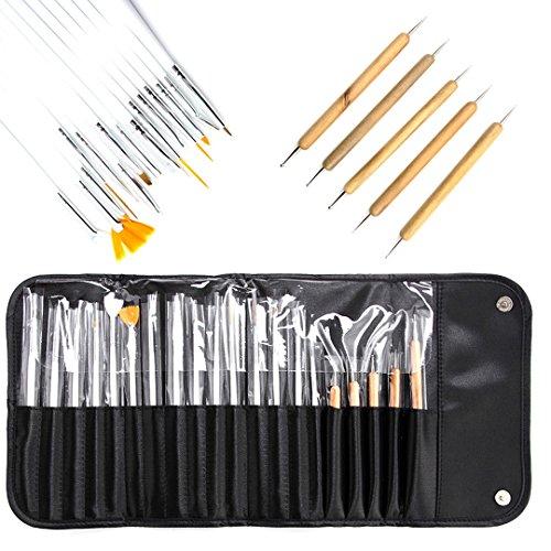 AiSi 20 PCS professionell Nagelpinsel Pinsel Set Bürste Profipinsel Nageldesign Stifte, Zum designen von Nägeln und zum malen