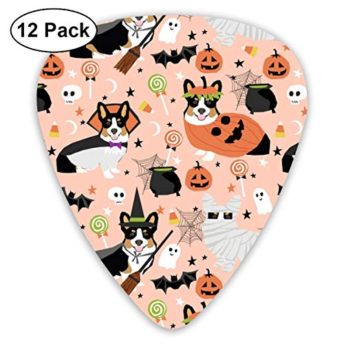 Tri-Colored Corgi Halloween Costumes Mummy Vampire Ghost Just Dog Peach Classic Celluloid Picks, 12-Pack, For Electric Guitar, Acoustic Guitar, Mandolin, And Bass