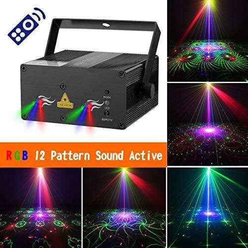 Partei-Strahln-Licht RGB 12 Muster, LED-Stadiums-Beleuchtung rotes grünes blaues DJ-Licht für Hauptraum-Tanzpartys-Bar Karaoke-Weihnachtshochzeits-Show-Verein -518 (Partei-lichter Laser)