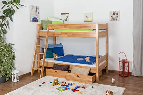 Children's bed / Bunk bed Martin solid, natural beech wood, includes roll-up grille - 90 x 200 cm