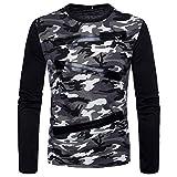 ZIYOU Herren Pullover mit Leder Patchwork Casual Camouflage O-Ausschnitt Langarm T-Shirt Hemd Top (M,Grau)
