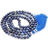 gemstone collana di perline mala, mala braccialetto, mala rosario collana, annodati collana / bracciale (Sodalite)