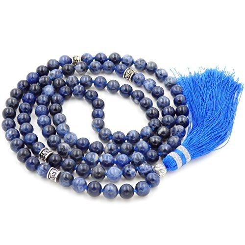 Gemstone collana di perline mala, mala braccialetto, mala rosario collana, annodati collana/bracciale (sodalite)