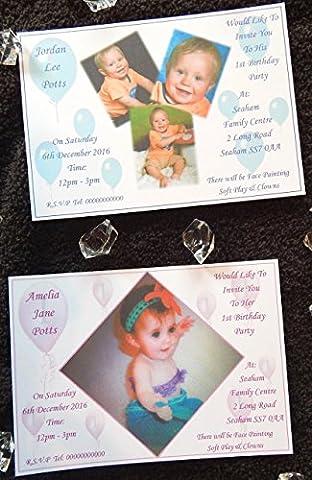 25, 50, 75 oder 100 x personalisierte Jungs, Mädchen, Zwillinge oder Jungen & / oder Mädchen 1. Geburtstagsfeier-Einladungen mit Fotografien u. Freien Umschlägen