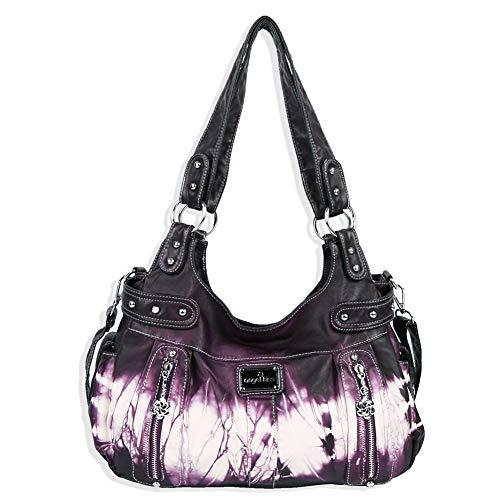 angel kiss Damen Handtasche Schultertasche PU Leder Top Griff Satchel Tote Bag (AK19244-3Z Purple)