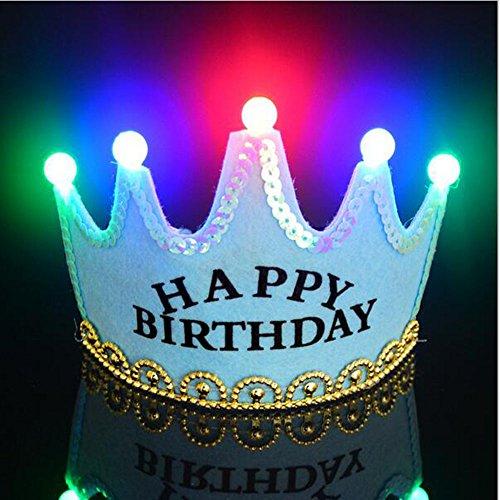 OFT Prinzessin / Prinz Königskrone Krone Diadem Tiara Geburtstag Kopfschmuck mit Led Lampe für Kinder (blau (Erwachsene Geburtstag Für Tiara)