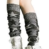 Fletion Damen Winter Beinlinge Warme Boots Strümpfe Stricken Wolle Lange Leggings Gestrickt Kniestrümpfe