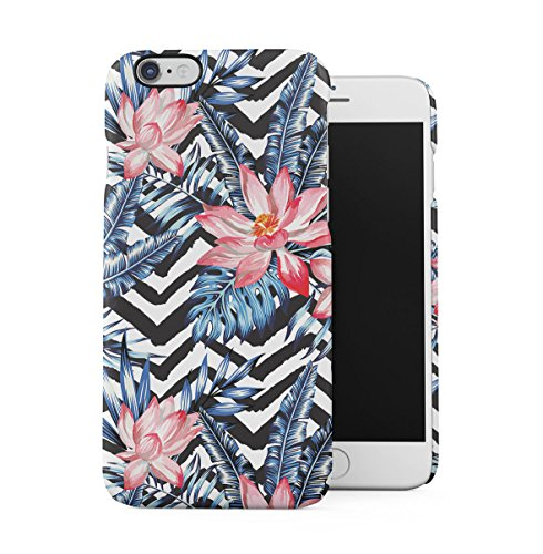 Tropical Flowers Pink Lotus Chevron Pattern Apple iPhone 6 , iPhone 6S Snap-On Hard Plastic Protective Shell Case Cover Custodia Pink Lotus