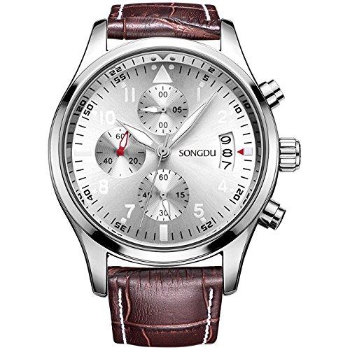 SONGDU Herren Armbanduhr Quarz Multifunktions-Edelstahl Uhrengeh?use braun Dornschlie?e Lederband Silber Zifferblatt Teller
