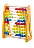 Tooky Toy Holz-Abacus Rechenschieber in Regenbogen-Farben zum Rechnen und Zählen für die Kleinen - Rechenrahmen in tollen bunten Farben ca. 25 x 12 x 32 cm ab 3 Jahren