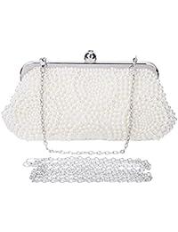 BAIGIO Bolsa de Fiesta Bolso Embrague de Mano Nupcial Clutch Boda Perlas Elegante para Mujer,Blanco