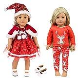 ZITA ELEMENT 6 Pcs Poupée Vêtements De Noël Outfits Robes De Pyjama + 1 Chaussures Blanches pour Poupée Américaine De 18 Pouces, Notre Génération - Xmas Gift...