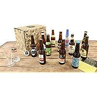Pack Biérologie 12 bières du monde + 2 verres + 1 décapsuleur + 1 guide - Calendrier 12 bières - Emballage cadeau *Idéal pour faire plaisir à Noël*