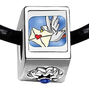 Dove spedire placcato argento, motivo: lettera d'amore e cristallo portafortuna del mese di settembre, con zaffiro, a forma di fiore con Charm Bracelets