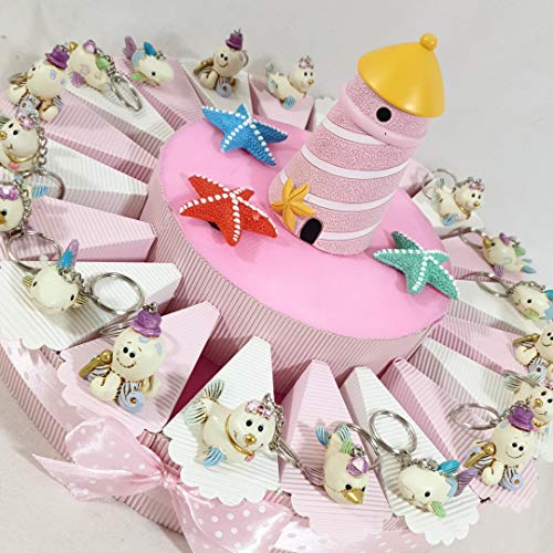 Bomboniere animaletti portachiavi per battesimo nascita bimba con torta bomboniera da 20 fette confetti rosa