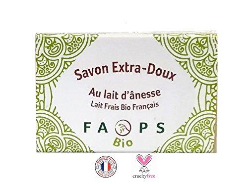Savon 100 g lait d'Anesse frais Bio Françai 100% Naturel.Sans Sulfates,Silicones,Parabens, EDTA, Alcool, Colorants,OGM huile de palme, non testé sur les animaux,