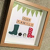 Personalised OUR FAMILY Wellington Boot Wellies Frame Present Handmade Gift Valentines Birthday Mother Mother