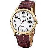 Regent Herren-Armbanduhr Elegant Analog Leder-Armband braun Quarz-Uhr Ziffernblatt beige (weiß) URF789