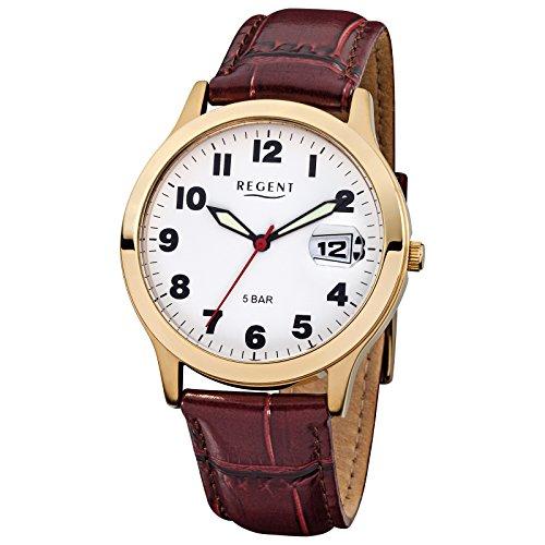 Regent eysse-reloj analógico de mujer colour marrón cuero-pulsera cuarzo-reloj esfera colour (blanco) URF789